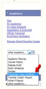 UDSIS Academics Menu